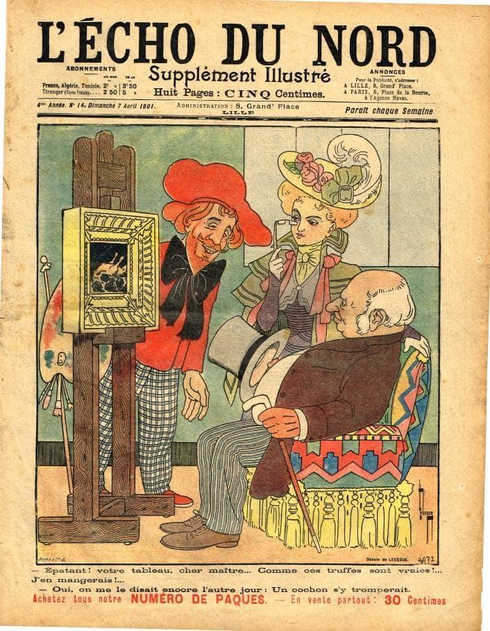 Page à la une du journal l'Echo du Nord d'un dessin représentant un poulet accompagné de truffe sur un tableau de maître